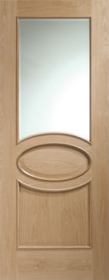 Internal Calabria With Clear Bevelled Glass And Raised Mouldings Oak Door