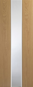 Internal Pescara White/Oak Fusion Door With Obscure Glass