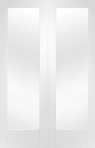 Internal White Primed Pattern 10 Rebated Door Pair with Clear Glass