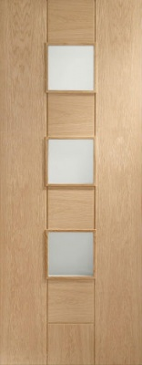 Internal Messina Oak Door with Obscure Glass