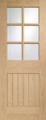 Internal Pre-finished Suffolk Light Oak Door with Clear Bevelled Glass