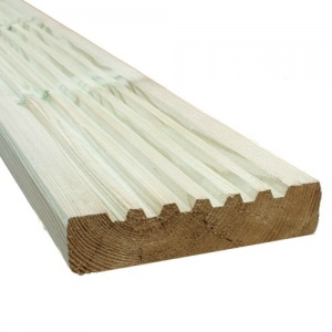 125mm x 32mm Treated Softwood Deck Board - Over 3m