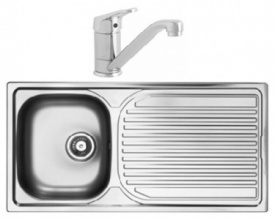 Aegean Single Bowl Stainless Steel Sink with Finesse Tap