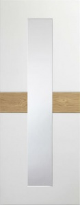 Internal Asti White/Rustic Oak With Clear Glass Fusion Door