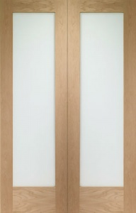 Internal Oak Pattern 10 Rebated Door Pair with Clear Glass