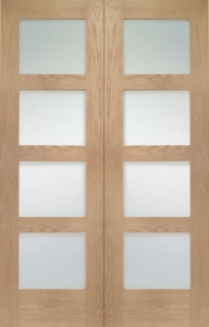 Internal Oak Shaker 4 Light Rebated Door Pair with Clear Glass