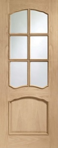 Internal Pre-finished Riviera Oak Door with Bevelled Glass and Raised Mouldings