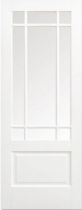 Internal Solid White Primed Downham with Clear Bevelled Glass Door