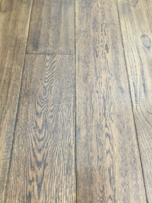 150mm x 18mm Solid Hand Carved Brown Oak Flooring - Lacquered