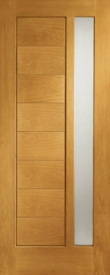 2XG Oak Door (Dowelled) with clear Glass