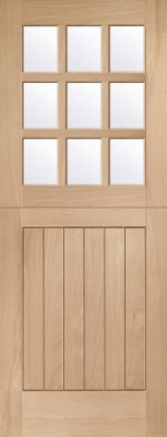Stable 9 Light Oak Door (M&T) with clear Glass