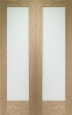 Internal Oak Pattern 10 Rebated Door Pair with Obscure Glass