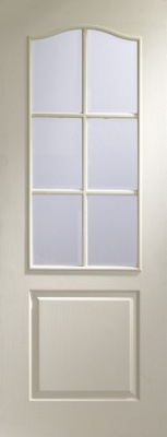 Internal White Moulded Classique 6 Light with Clear Bevelled Glass