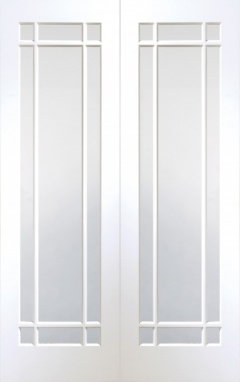Internal White Primed Cheshire Rebated Door Pair with Clear Glass
