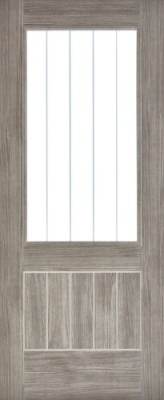 Internal Pre-Finished Light Grey Laminated Mexicano Door Half Glazed