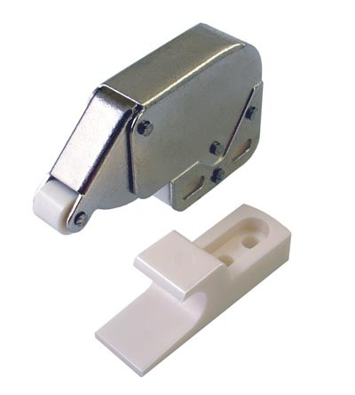 Mini Tip Latch - White & Zinc Plated