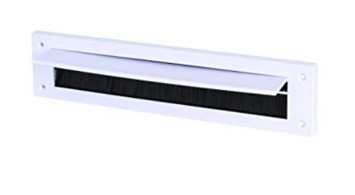 White Letterbox Draught Excluder with Flap