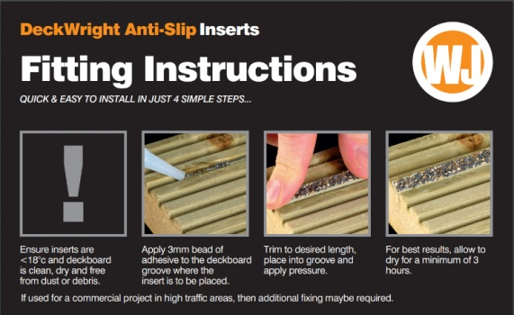 Anti-Slip Inserts for Decking Boards