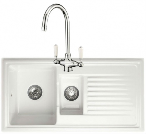 Dovey 1.5 Bowl White Ceramic Sink with Monobloc Tap