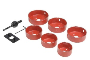 Down Light Hole Saw Kit 9 Piece set 50 to 86 mm