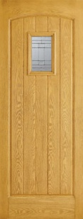 External GRP Composite Cottage Oak Glazed Door