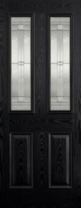 External GRP Composite Malton Black and White Glazed Door