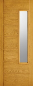 External GRP Composite Newbury Oak Glazed Door