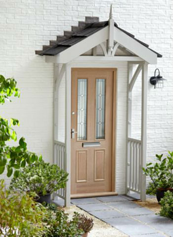 Hand Made Porch Timber Front Door Slanted Canopy Porch
