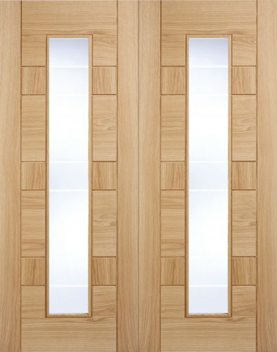 Genial Internal Pre Finished Edmonton Oak Glazed Door Pairs