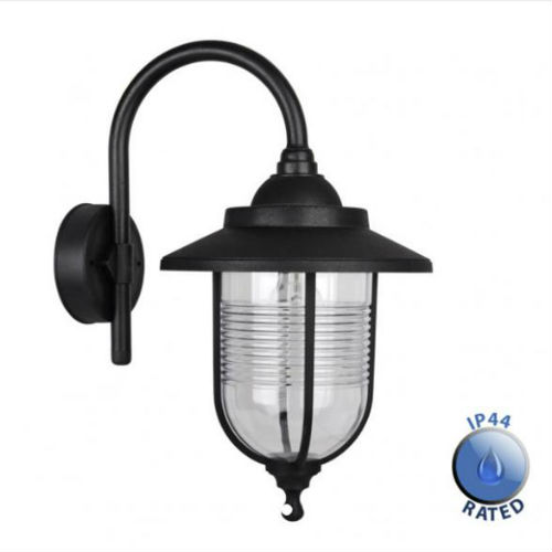 Traditional Nautical Black Ip44 Outdoor Garden Bollard: Eyam Black Outdoor Swan Neck Wall Lantern IP44