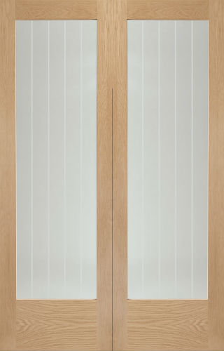 Internal Oak Suffolk Rebated Door Pair With Clear Etched Glass