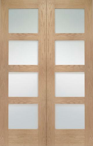 Internal Oak Shaker 4 Light Rebated Door Pair With Clear Glass