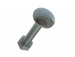 M6 x 25 Dome Cup Square Hexagon Bolt Bright Zinc Plated