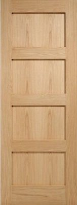 Internal Oak Shaker 4 Panel Door Unfinished