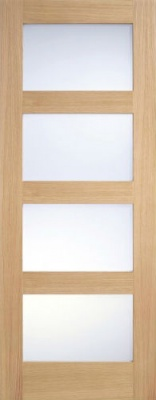 Internal Oak Contemporary Frosted Glazed Door