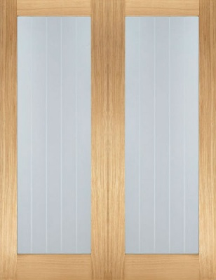 Internal Oak Mexicano Pattern 10 Glazed Door Pairs