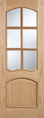 Internal Oak Riviera Glazed Door With Raised Mouldings