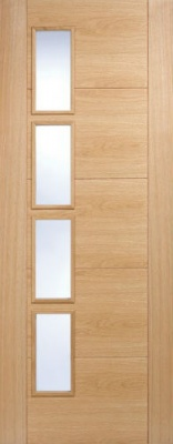 Internal Pre-Finished Oak Vancouver Offset Glazed Door