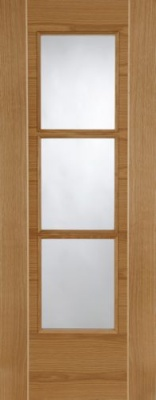 Pre-Finished Oak Mirage 3 Light Glazed Door