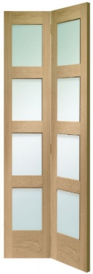 Internal Oak Shaker Clear Glazed Bi-Fold Door