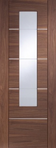 Internal Pre-Finished Wallnut PorticI Door Pair with Clear Etched Glass