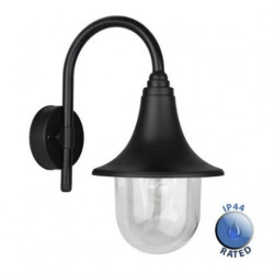 Bramhall Black Outdoor Swan Neck Wall Lantern IP44