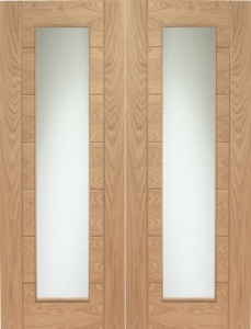 Internal Oak Palermo Rebated Door Pair with Clear Glass