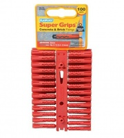 Plasplugs Red Super Grips Wall Fixings (100)