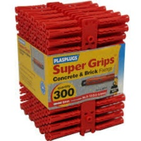 Plasplugs Red Super Grips Wall Fixings (300)
