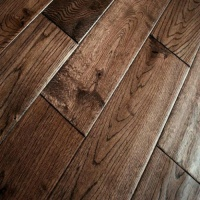 125mm x 18mm Solid Coffee Oak Flooring - Handscraped and UV Lacqured