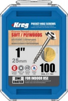 Kreg Zinc Coated Pocket Hole Screw 25mm (1'') Coarse Thread