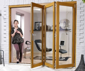 Pre-Finished Oak NUVU Folding/Sliding External Doorset