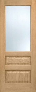 Internal Pre-Finished Oak Contemporary 3 Panel Frosted Glazed Door