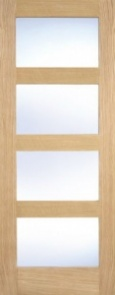 Internal Pre-Finished Oak Contemporary 4 Panel Clear Glazed Door